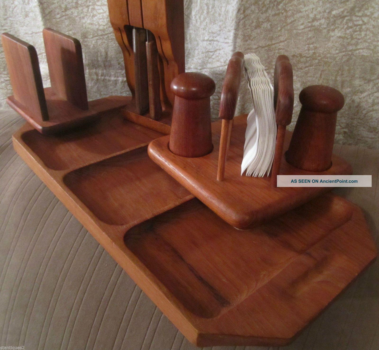 Mid Century Modern Teak Wood Serving Tray Napkin Holder Salt Pepper Knife Holder