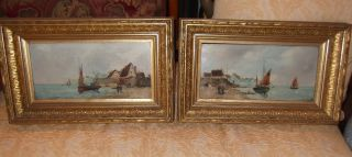 A Antique Oil On Board Seascape Paintings. . . photo