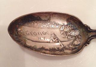 Vintage R.  Wallace & Sons Mfg.  Sterling Silver Spoon Pat.  1899 Lake George N.  Y. photo