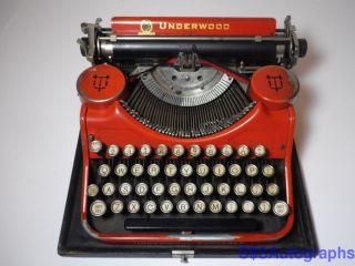 Rare Vintage Antique 1930 Underwood Standard Portable Orange Typewriter 505935 photo