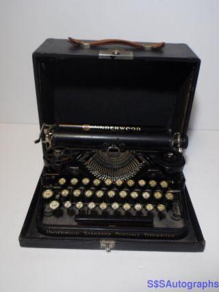 Rare Vintage Antique 1926 Underwood Standard Portable Black Typewriter Sn 69251 photo