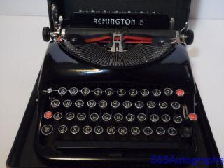 Rare Vintage Antique 1938 Remington Rand 5 Portable Black Typewriter V920306 photo