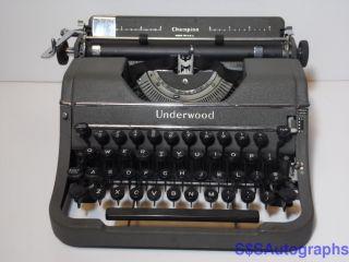 Vintage Antique 1947 Underwood Champion Model Portable Gray Typewriter G1730319 photo