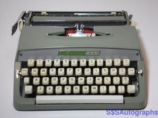 Vintage Retro 1960s Montgomery Ward Signature 300 Pica Portable Green Typewriter photo