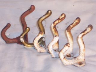 5 Cast Iron Antique C1910 Coat Rack Hook Hall Tree Hat Wall Steel Rustic photo