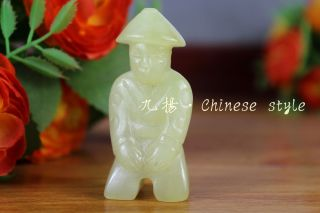 Chinese Classical Hand Carved Nature Jade Ancient People Statue 12112 photo