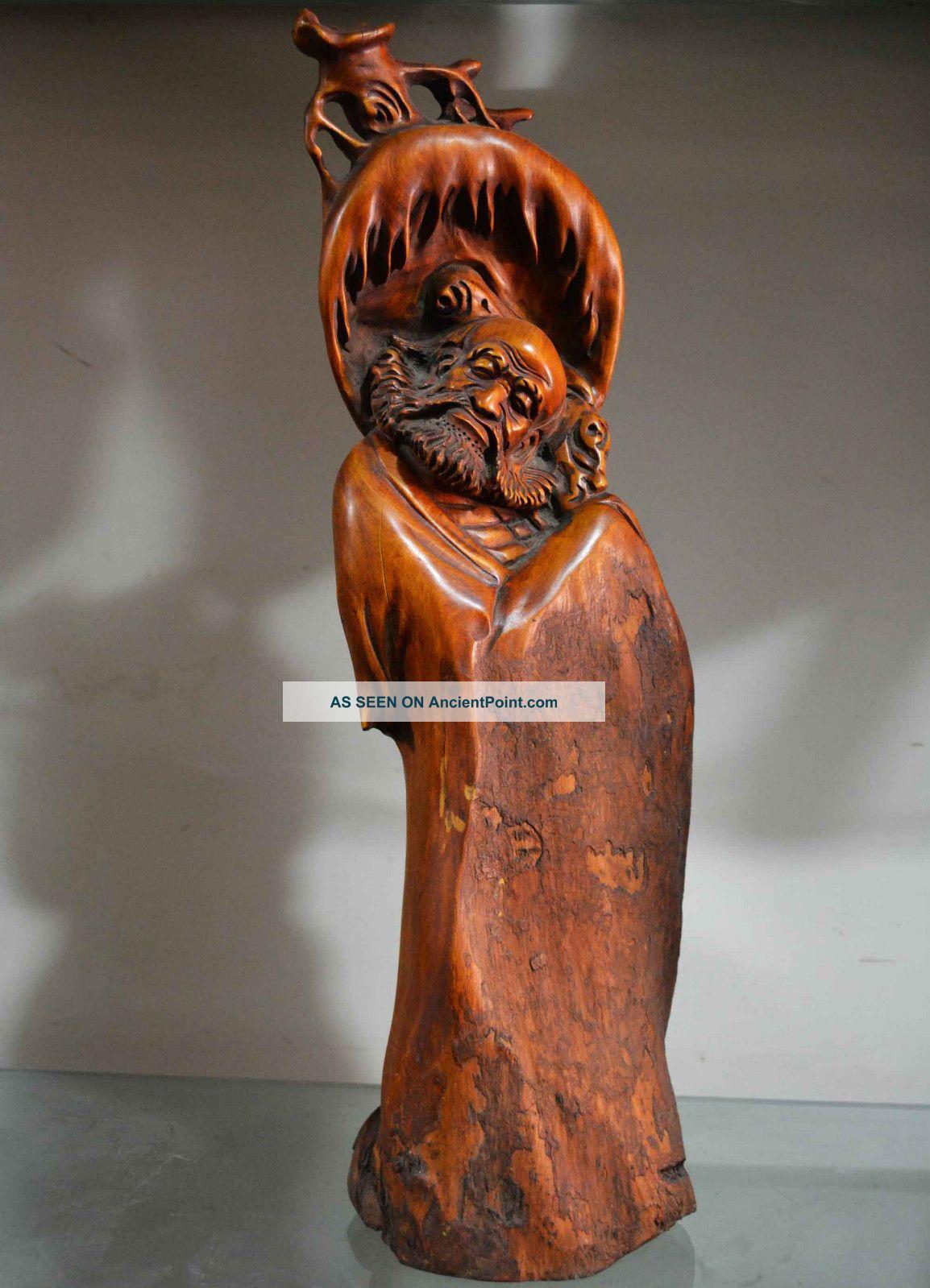 Statue Boxwood Carving Dharma Buddha Master Zen Wood Carving Bodhidharma Old Az3 Buddha photo