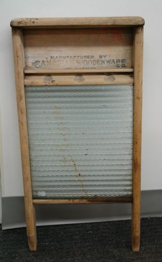Vintage Canuck Glass Canadian Woodenware Washboard photo