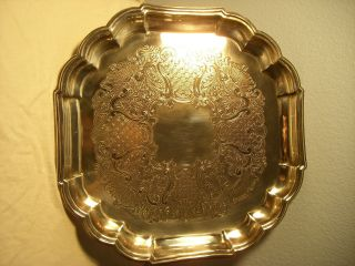 Vintage Gorham Heritage Ep Yh 28 Silverplate Tray,  Vintage Serving Tray photo