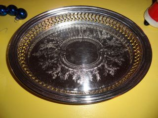 Oval Silver Color Serving Tray Embossed Reticulated Pierced (silver Plate?) E5 photo