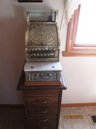 Antique 1915 Brass National Cash Register Model 313 Serial 1534010 photo