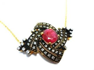 Turkish Jewelry Authentic Ottoman Sultans Ruby & Zirconia Necklace photo