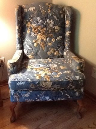 Vintage Blue Floral Wing Back Chair photo
