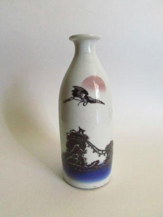 Antique Meiji - Taisho Copper Plate Transfer Crane And Meotojima Sake Bottle photo