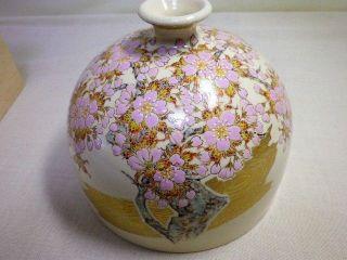 Japanese Antique Satsuma - Yaki Sakura Pattern Vase Special Manufactured Goods photo