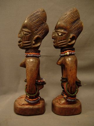 Exquiste Ibadan Ibeji Pair With Beads,  Yoruba / Santeria photo
