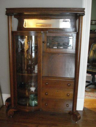 Antique Oak Curved China Cabinet With Secretary In Finish & Glass photo