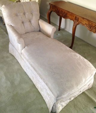 French Provincial Fainting Couch/ Vintage French Chaise Lounge Chair Upholstered photo