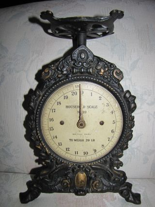Antique Classic Mid 19th Century Winged Griffin Designed Cast Iron Kitchen Scale photo
