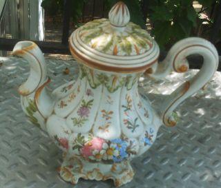 Antique Italy Teapot Unique Scallop & Floral Design Huge photo