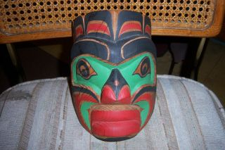 Contemporary Canadian Native Indian Carved & Painted Mask Steve Hunt 1984 photo
