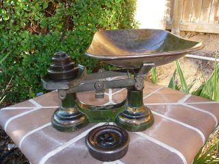 Antique General Store Cast Iron Candy Thexor Scale With Cast Iron 5 Weights photo