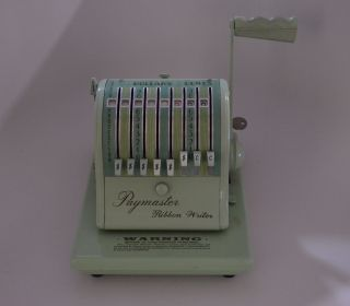 Paymaster Corp.  Series 8000 Antique Checkwriter Mint Green photo