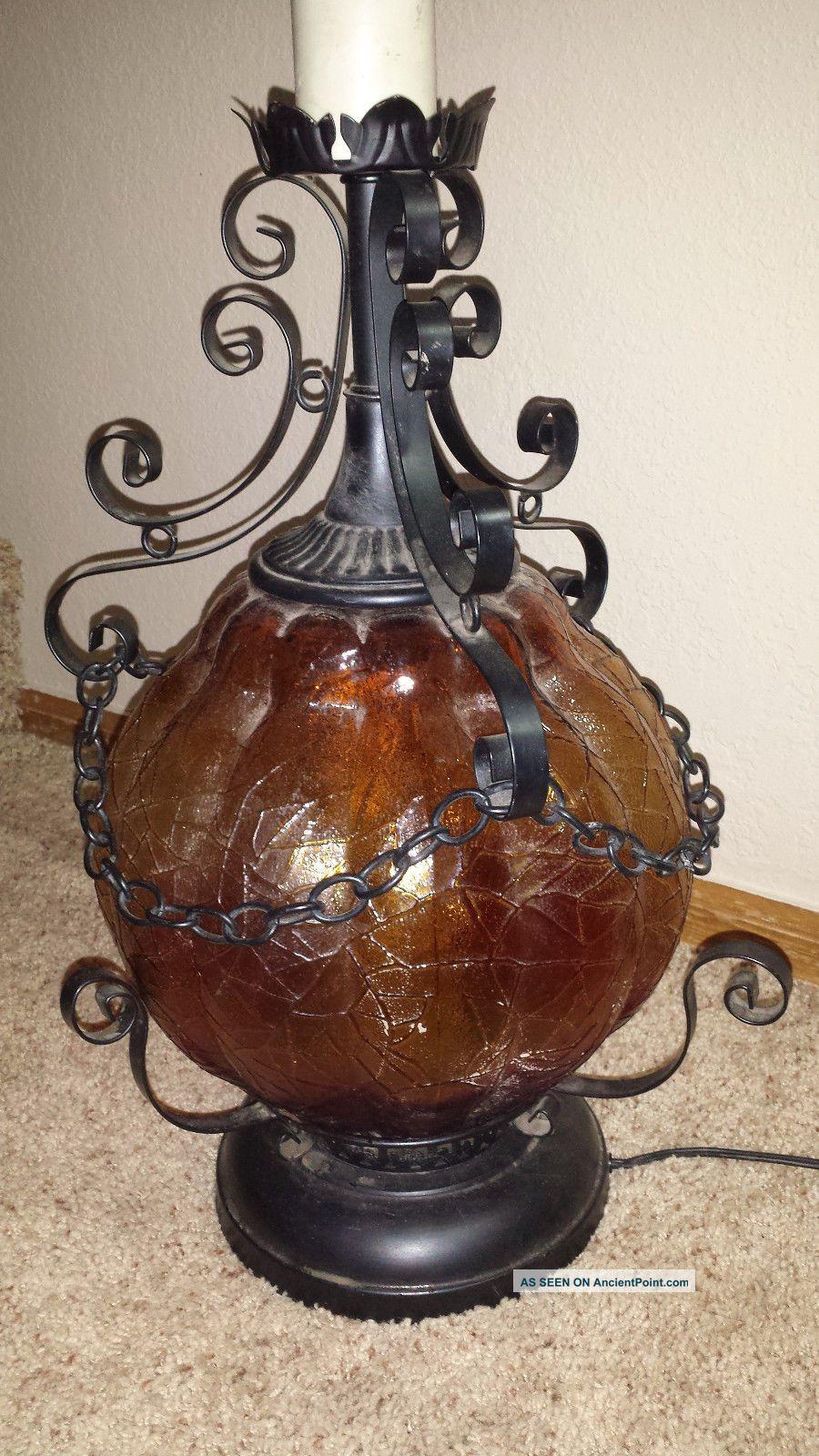 Vintage Mid Century Iron Amber Glass Lamp Light Gothic Underwriters  Laboratories