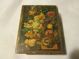 Vintage Shabby Italian Florentine Flower Scene Tole Gold Gilt Box, photo
