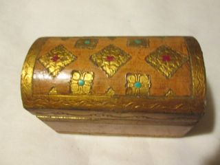 Vintage Shabby Italian Florentine Dome Top Trinket Box Gold Gilt Tole photo