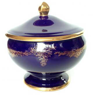 Dark Cobalt Royal Blue Bowl With Lid & Gold Design Hand Painted Japan Esd photo