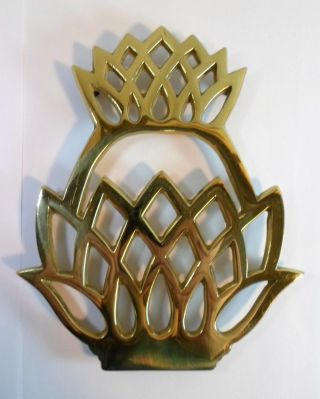 Vintag Solid Brass Pineapple Trivet Virginia Metalcrafters Colonial Williamsburg photo