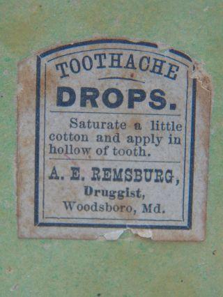 Antique Box Toothache Drops A E Remsburg Druggist Woodsboro Md photo