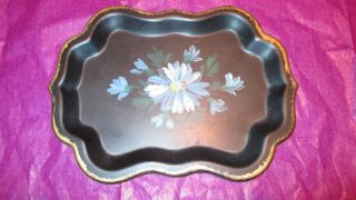 Vintage Jerywil Hand Painted Metal Tray - 7 3/4