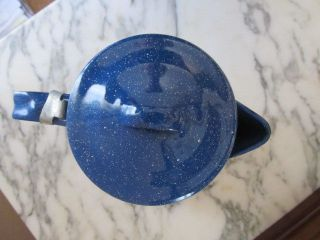 Vintage Antique Blue Splatter Enamelware Enamel Ware Coffee Pot photo