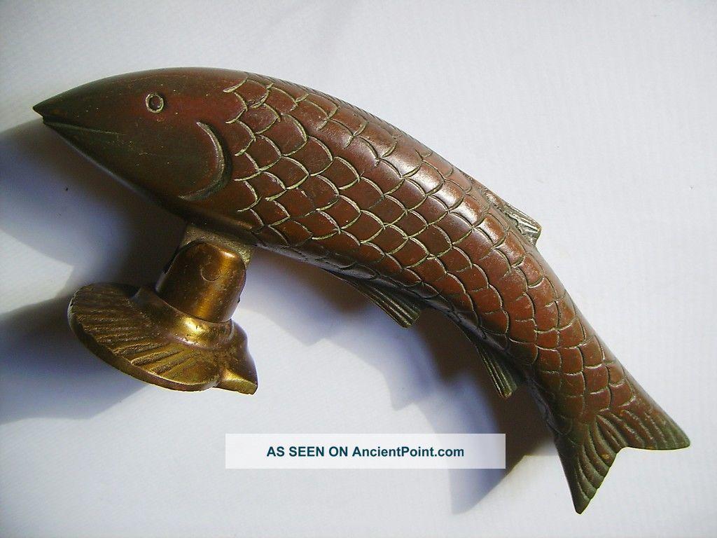 Antique Vintage Cast Bronze Fish Gate Door Pull Handel Unique & Rare