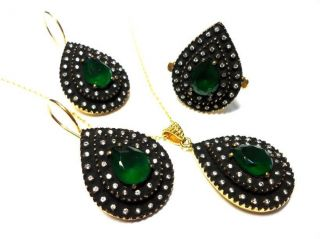 Turkish Jewelry Ottoman Sultans Hurrem Authentic Handmade Gold Plated Set photo