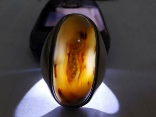 Aqeeq Very Old Antique Yaman Yemen Solaimani Sterling Silver Agate Big Men Ring photo