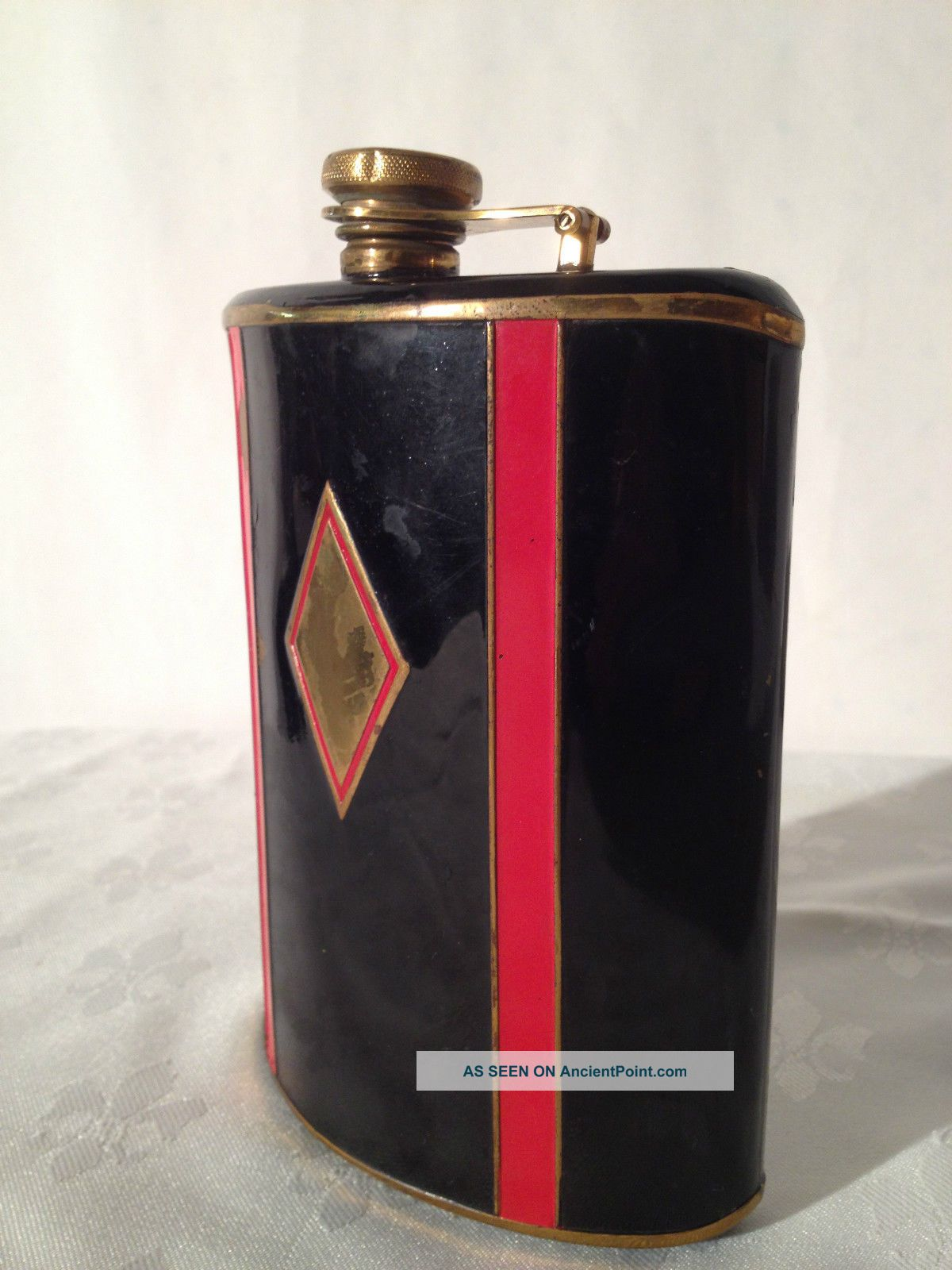 Antique English Flask 1920 ' S - Lacquered Red - Black Details,  Rare Very Collectable Bottles, Decanters & Flasks photo