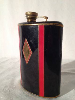 Antique English Flask 1920 ' S - Lacquered Red - Black Details,  Rare Very Collectable photo