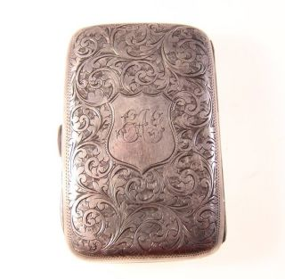 Antique Solid Sterling Silver Cigarette Case Box By W.  M Hayes Birmingham 1901 photo