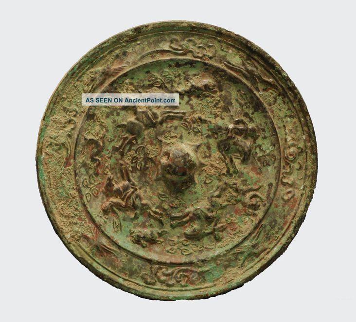 Ancient China Tang Dynasty Bronze Mirror 唐代刻花青铜镜 Chinese photo