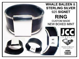 New Whale Baleen & Sterling Silver 925 Signet Ring By Jcc Jewelry Boxed Mint photo