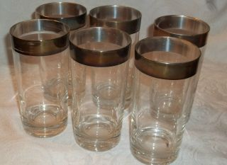 Rare Vintage Silverplate Rimmed Tea/water Glasses,  Circa 50s/60s,  Euc,  Set Of 6 photo