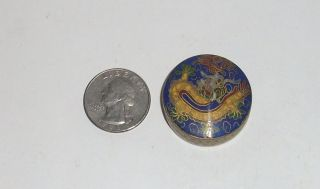 Rare Small Cloisonne Enamel Dragon Trinket Snuff Pill Box Signed By The Maker photo