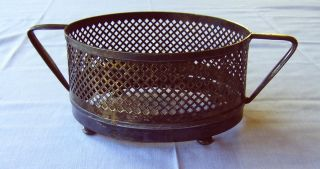 19th Century Ornate Oval Silverplate Hot Dish Holder,  Handled And Footed photo