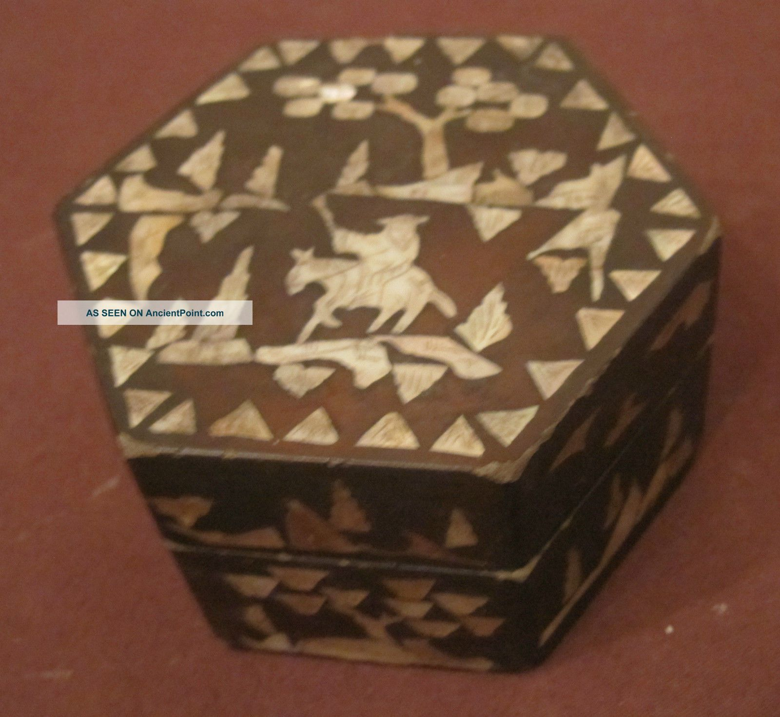 Antique Rare 1800s Lacquer Inlaid Mother Of Pearl Hexagon Trinket Vanity Old Box Boxes photo
