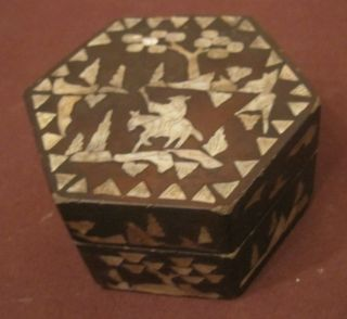 Antique Rare 1800s Lacquer Inlaid Mother Of Pearl Hexagon Trinket Vanity Old Box photo
