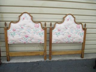 53059 Pair Twin Size Upholstered Headboard Bed S Romantic Shabby Henredon? photo