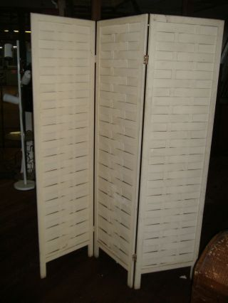 3 Panel Time Worn Split Wood Woven Dressing Screen Vintage Antique Room Divider photo